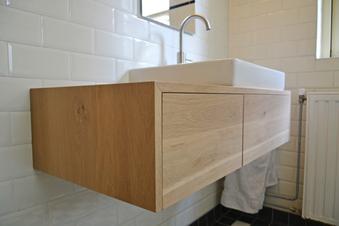 Eiken Werkblad Badkamer : Badkamer gerealiseerd door sanidrome scharenborg uit haaksbergen