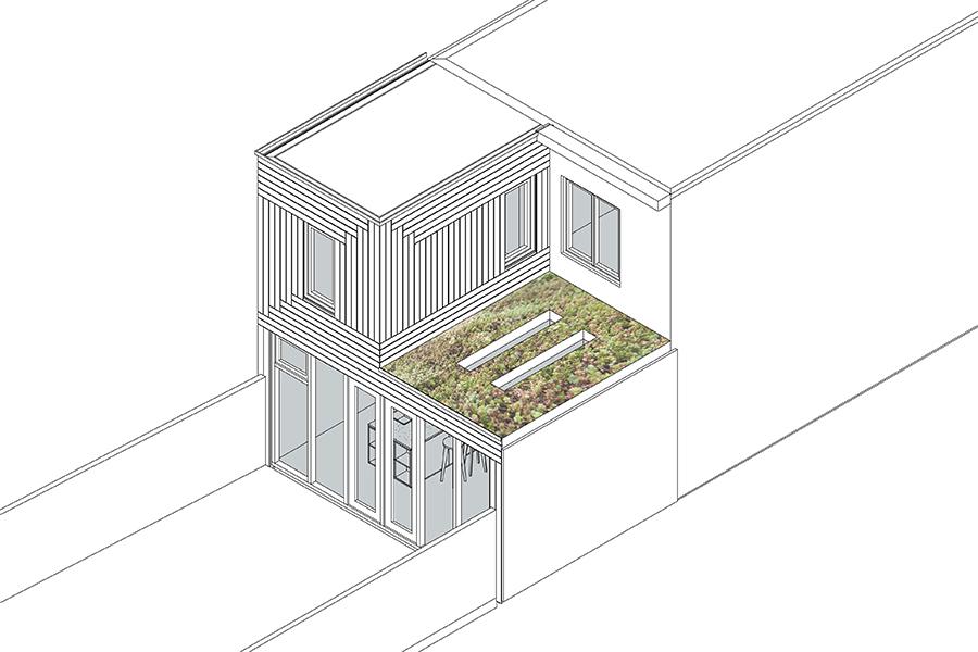 Uitbouw groen dak